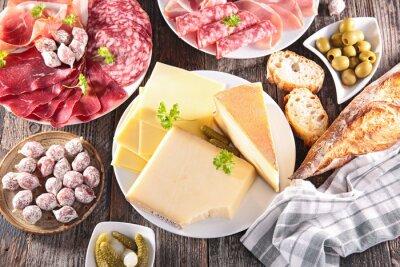 Плакат Ассортимент сыров, мяса
