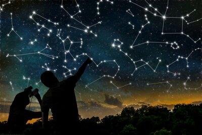 Плакат Астрология понятие. Созвездия на ночном небе. Силуэты астрологов наблюдения зодиакального созвездия.