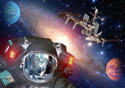 Плакат Астронавт и др чуждой внеземная Sci Fi нло космические планеты космический корабль. Элементы этого изображения, предоставленную NASA.
