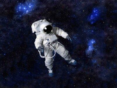 Плакат Астронавт плавающие в темном пространстве.