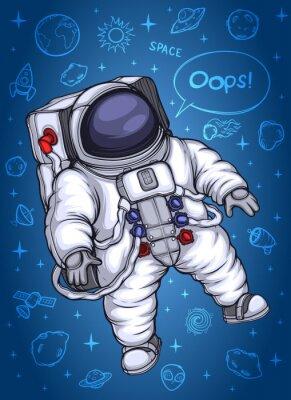 Плакат Астронавт в космическом пространстве. На фоне космических объектов.