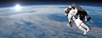 Плакат Астронавт или космонавт летит на земле - 3D визуализации