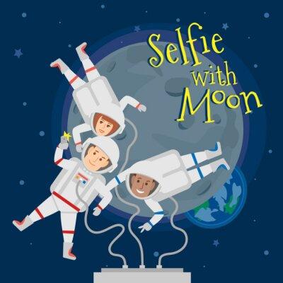 Плакат космонавты мужчины и женщины в космическом пространстве принимая селфи портрет с луны .selfie с понятием луны иллюстрации