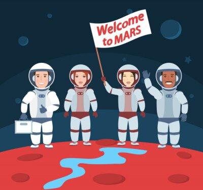 Плакат Астронавты на Марсе. Добро пожаловать в группу mars.international с флагом