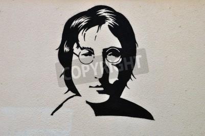 Плакат Афины, Греция - 30 августа 2014: Джон Леннон портрет трафарет граффити городского искусства на текстурированной стене.