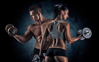 Плакат Спортивное мужчина и женщина с гантелями.