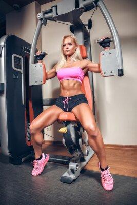 Плакат Привлекательная женщина в тренажерный зал на тренировки машины