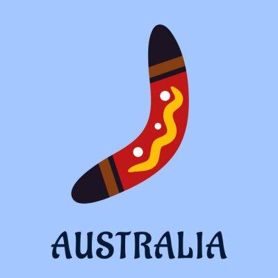Плакат Австралийский национальный изолированные красочные бумеранг