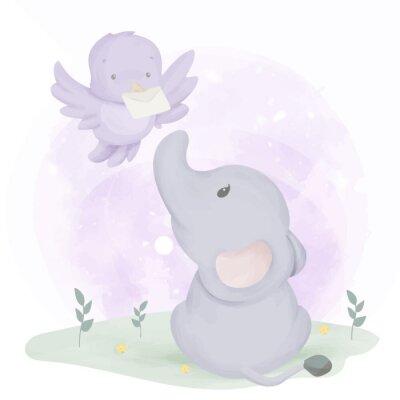 Плакат Baby Elephant Get Mail From Bird