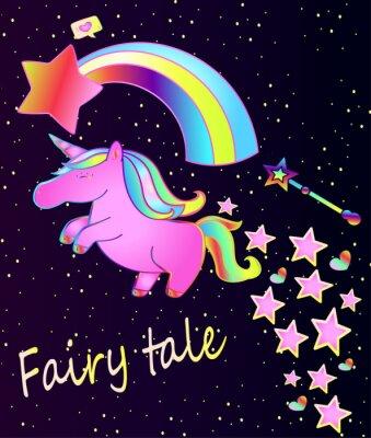 Плакат Baby-плакат-милый розовый единорог с радугой на красивом фоне градиента со звездами и сердцами