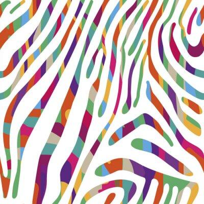 Плакат Фон с красочным рисунком кожи Zebra