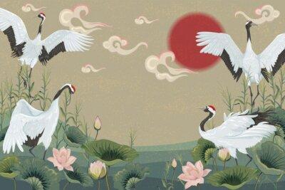 Плакат фон с японскими журавлями на закате