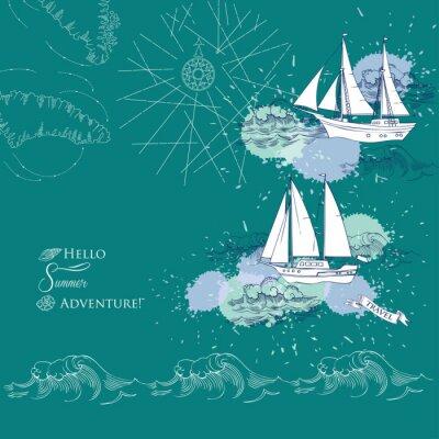 Плакат Фон с кораблями и waves.Hand нарисованной море, волны и яхт. векторные иллюстрации