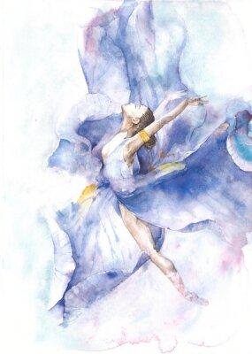 Плакат Балерина танцы акварель, изолированных на белом фоне открытки