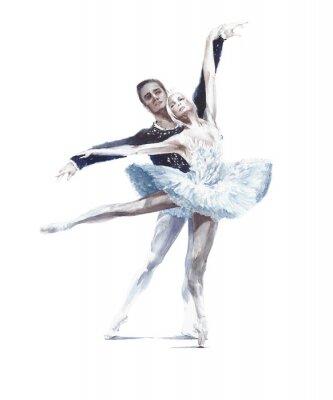 Плакат Ballet dancers swan lake ballet ballerina in white tutu watercolor painting illustration isolated on white background