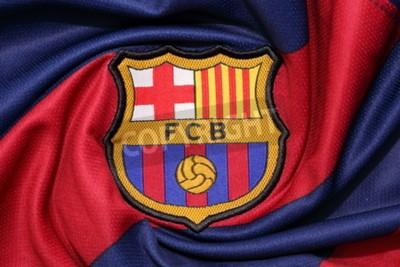 Плакат BANGKOK, THAILAND -AUGUST 30, 2015: the logo of Barcelona football club on an official jersey on August 30, 2015 in Bangkok Thailand.