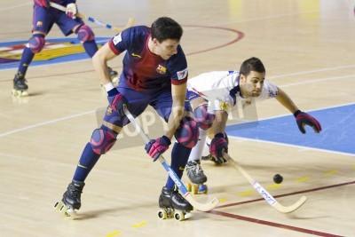 Плакат BARCELONA - JANUARY 26: Sergi Miras of FCB in action at Spanish OK League match between FC Barcelona and Igualada HC, final score 4-5, on January 26, 2013, in Palau Blaugrana, Barcelona, Spain