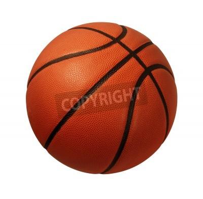 Плакат Басков мяч, изолированных на белом фоне в качестве спортивного и фитнес-символом команды liesure деятельности, играя с Кожаный мяч дриблингом и передавая конкуренции турниров