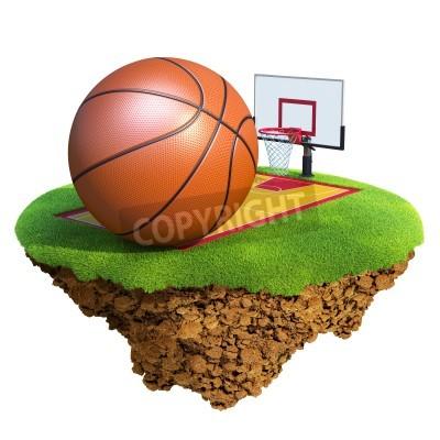 Плакат Баскетбольный мяч, щит, обруч и суда на основе маленькой планете. Концепция команды по баскетболу или дизайн конкуренции. Крошечный остров / планета коллекции.