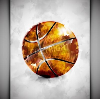 Плакат Баскетбольный мяч в акварельной стиля
