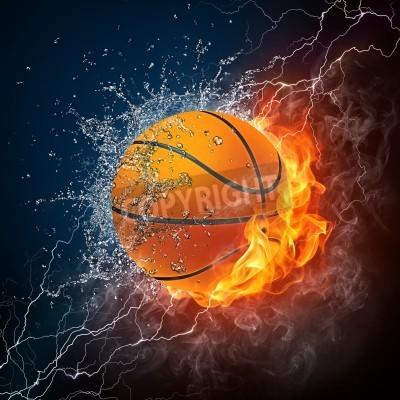 Плакат Баскетбольный мяч на огонь и вода. 2D Графика. Компьютерный дизайн.