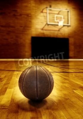 Плакат Баскетбол на деревянный пол старого баскетбольной площадке