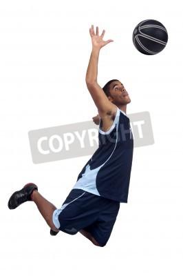 Плакат Баскетболист, изолированных в белом