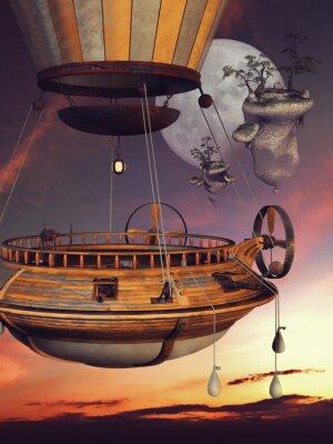 Плакат Baśniowy балон на TLE księżyca я latających WYSP