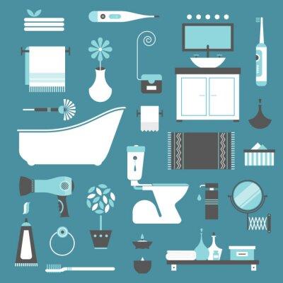 Плакат иконки для ванной комнаты