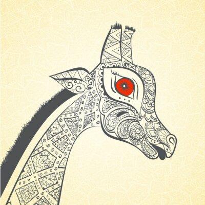 Плакат Красивая взрослая Жираф. Рисованной Иллюстрация декоративных жирафа. Цветные жирафа на декоративный фон.