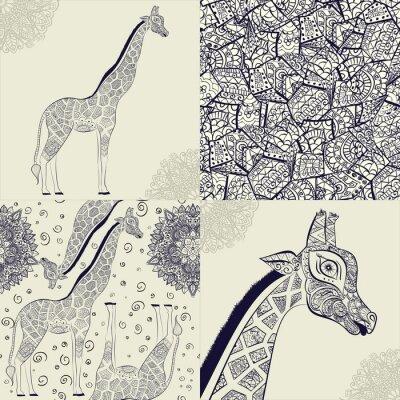 Плакат Красивая взрослая Жираф. Рисованной Иллюстрация декоративных жирафа. изолированные жираф на белом фоне. Бесшовные с декоративной жирафа