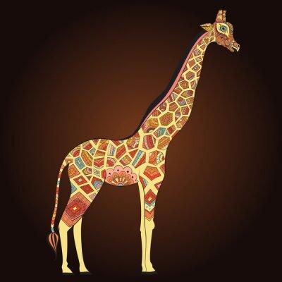 Плакат Красивая взрослая Жираф в богемный. Рисованной Иллюстрация декоративных жирафа. Цветные жирафа на декоративный фон.