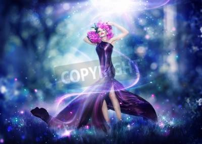 Плакат Красивая фантазия фея женщина, искусство моды портрет