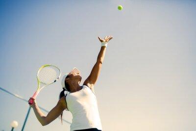 Плакат Красивая женщина теннисистка порция