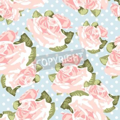 Плакат Beautiful Seamless rose pattern with blue polka dot background, vector illustration