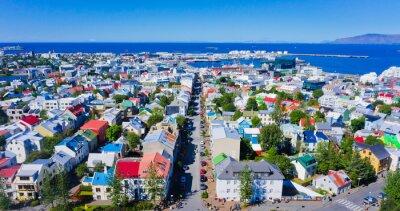 Плакат Красивая супер широкоугольный с высоты птичьего полета Рейкьявик, Исландия