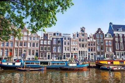 Плакат Красивый вид на каналы Амстердама с мостом и типичный голландский