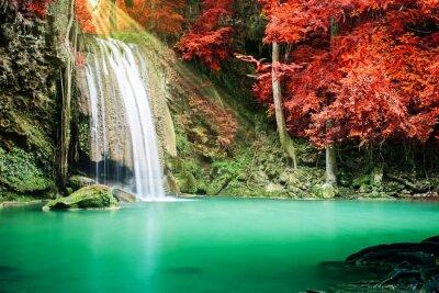 Плакат Красивый водопад в осенний лес