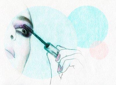 Плакат Красивая женщина лицо. акварель иллюстрации