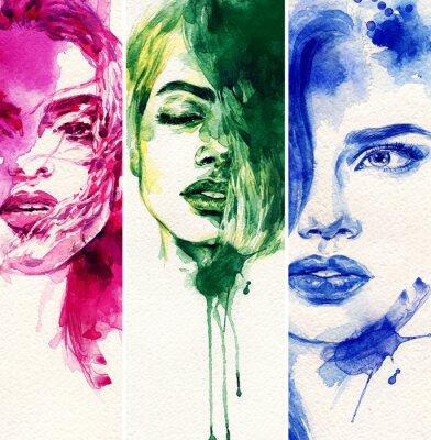 Плакат Красивая женщина. акварель иллюстрации