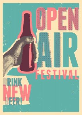Плакат Beer open air festival typographical vintage grunge pop-art style poster design. Retro vector illustration.