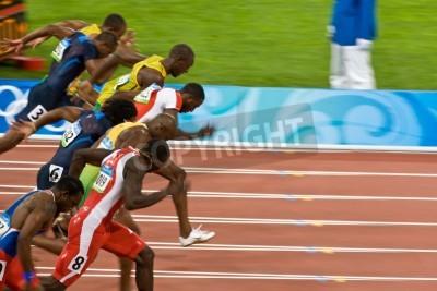Плакат Beijing, China Aug. 18 2008, Olympics, 100 meter sprint, Start of men