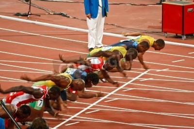 Плакат Beijing, China ,Olympics - Aug 18 2008: 100 meter Sprint starting line, Start of Men