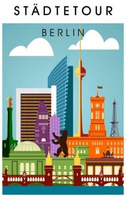 Плакат Берлин Плакат головни мит wichtigen Sehenwürdigkeiten hochkant Силуэт Panorama