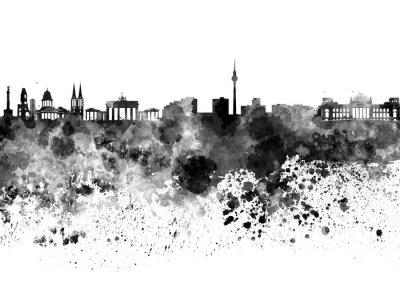 Плакат Берлин горизонт в черном акварель