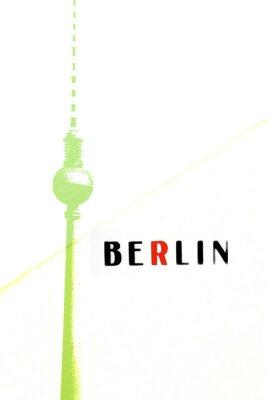 Плакат Берлин Старинные открытки - телевизионная башня и буквы на абстрактных backg