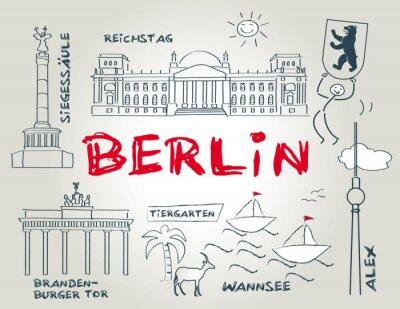 Плакат Берлин, Wahrzeichen, иллюстрация
