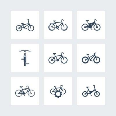 Плакат велосипед, езда на велосипеде, велосипед, электрический велосипед, велосипед жира простые иконки, векторные иллюстрации