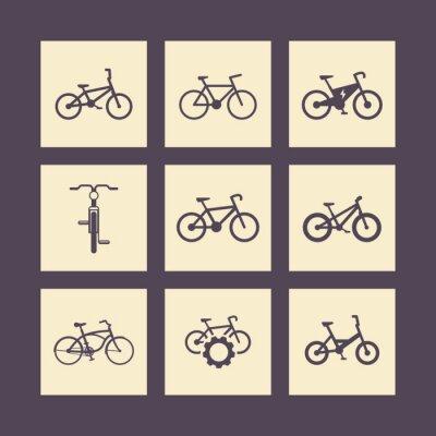 Плакат велосипед, велоспорт, велосипед, электрический велосипед, значки жира велосипед квадратных