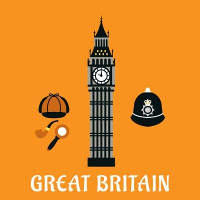 Плакат Биг-Бен башня и другие объекты Британия